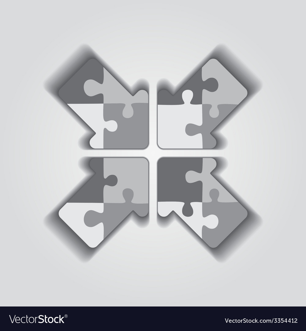 Arrow puzzle concept on gray background