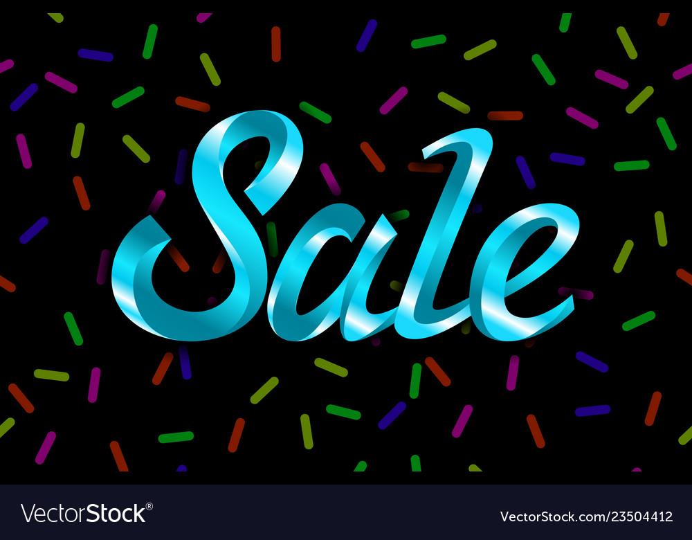 Blue text sale lettering on black background