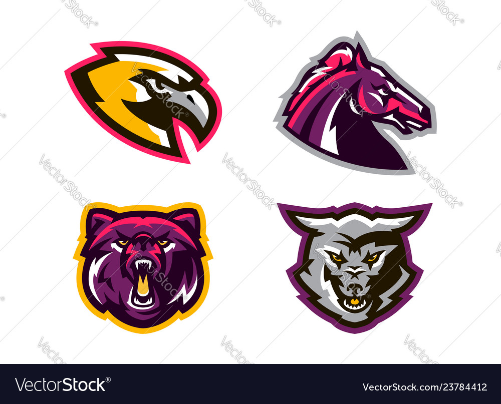 Collection of animal logos a wolf a coyote a