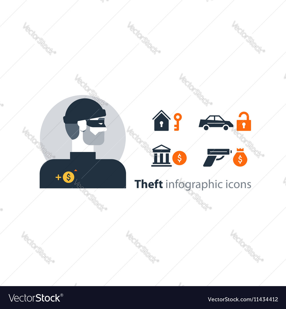 Criminal stealing money bank robbery home burglary