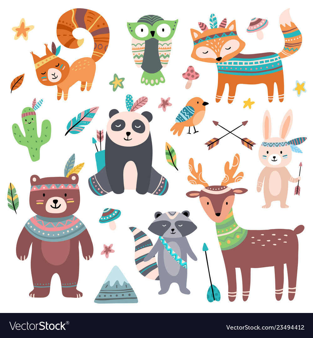 Cute tribal animal forest wild animals zoo