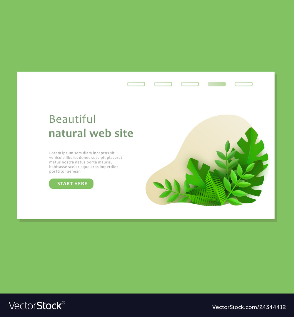 Eco landing page template with green plants in
