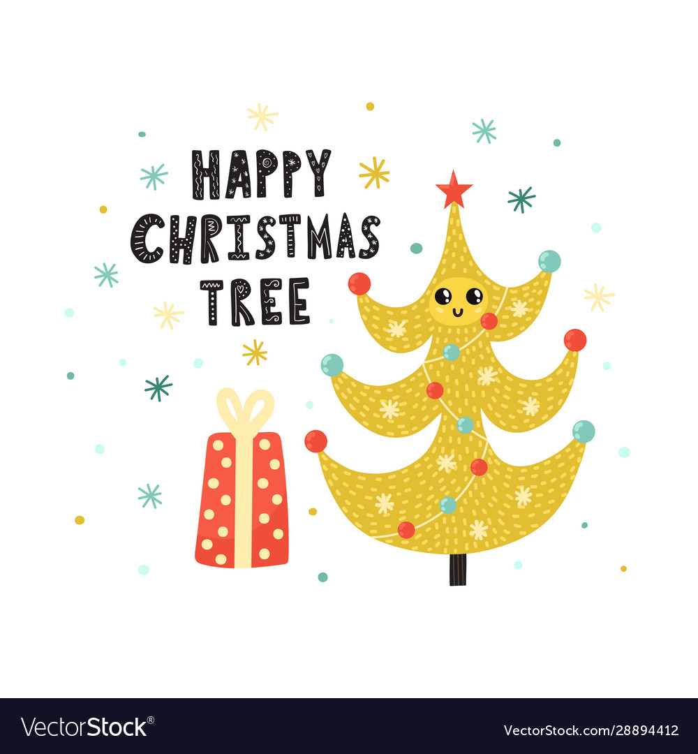 Happy christmas tree cute print winter funny