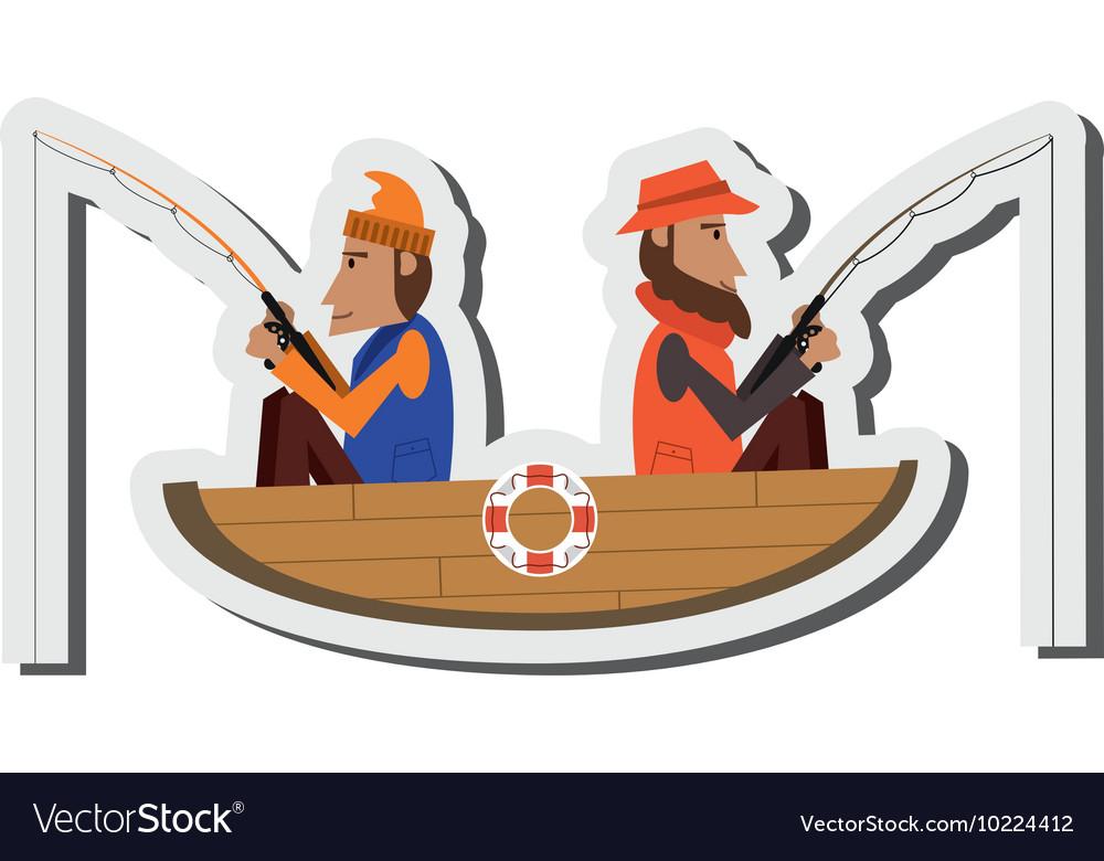 Men fishing on boat icon