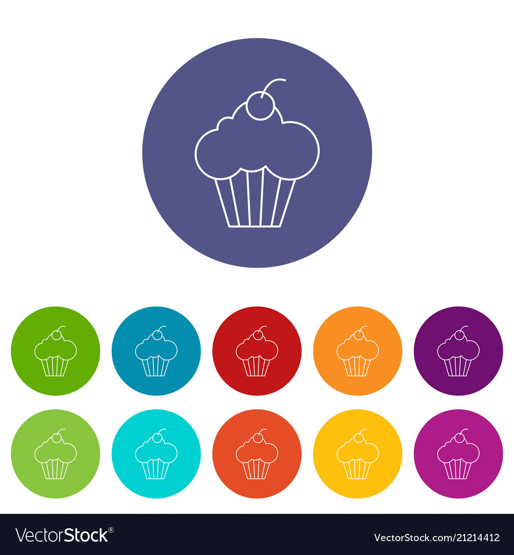Sweet cupcake icons set color