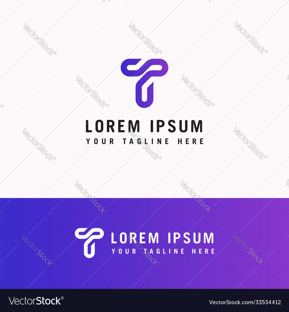 T letter logo line monogram modern initials