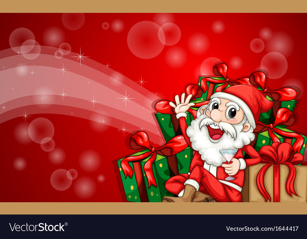 a sparkling christmas card template with santa vector image
