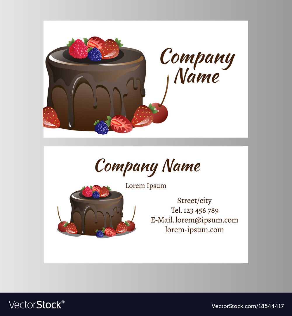 Business card template for bakery business vector image reheart Gallery