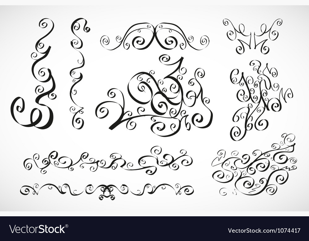 Calligraphic design elements smooth floral lines