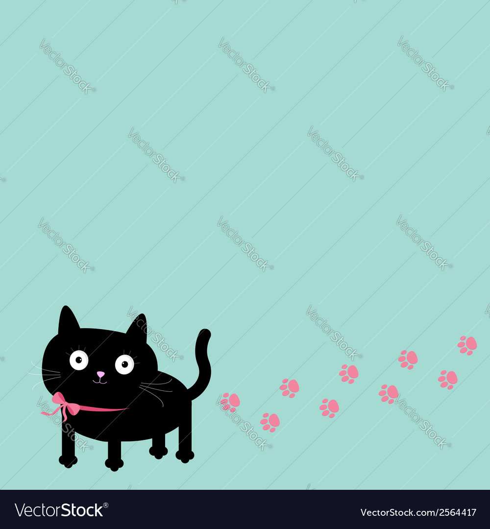 Cartoon cat and paw print track in the corner