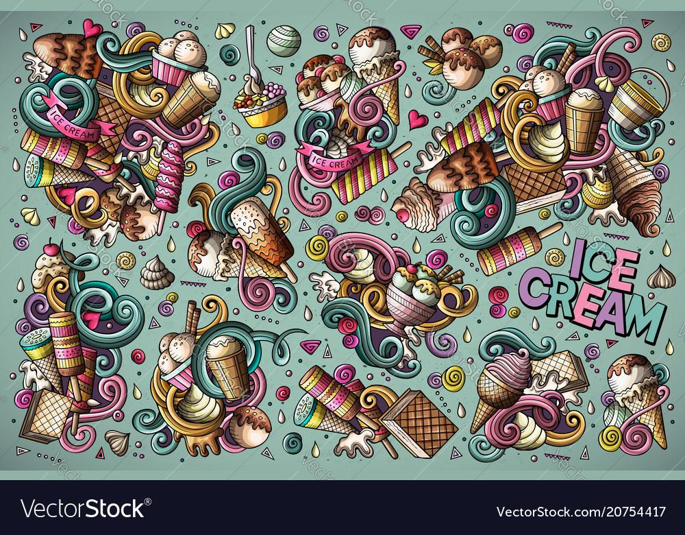 Colorful doodle cartoon set of ice-cream