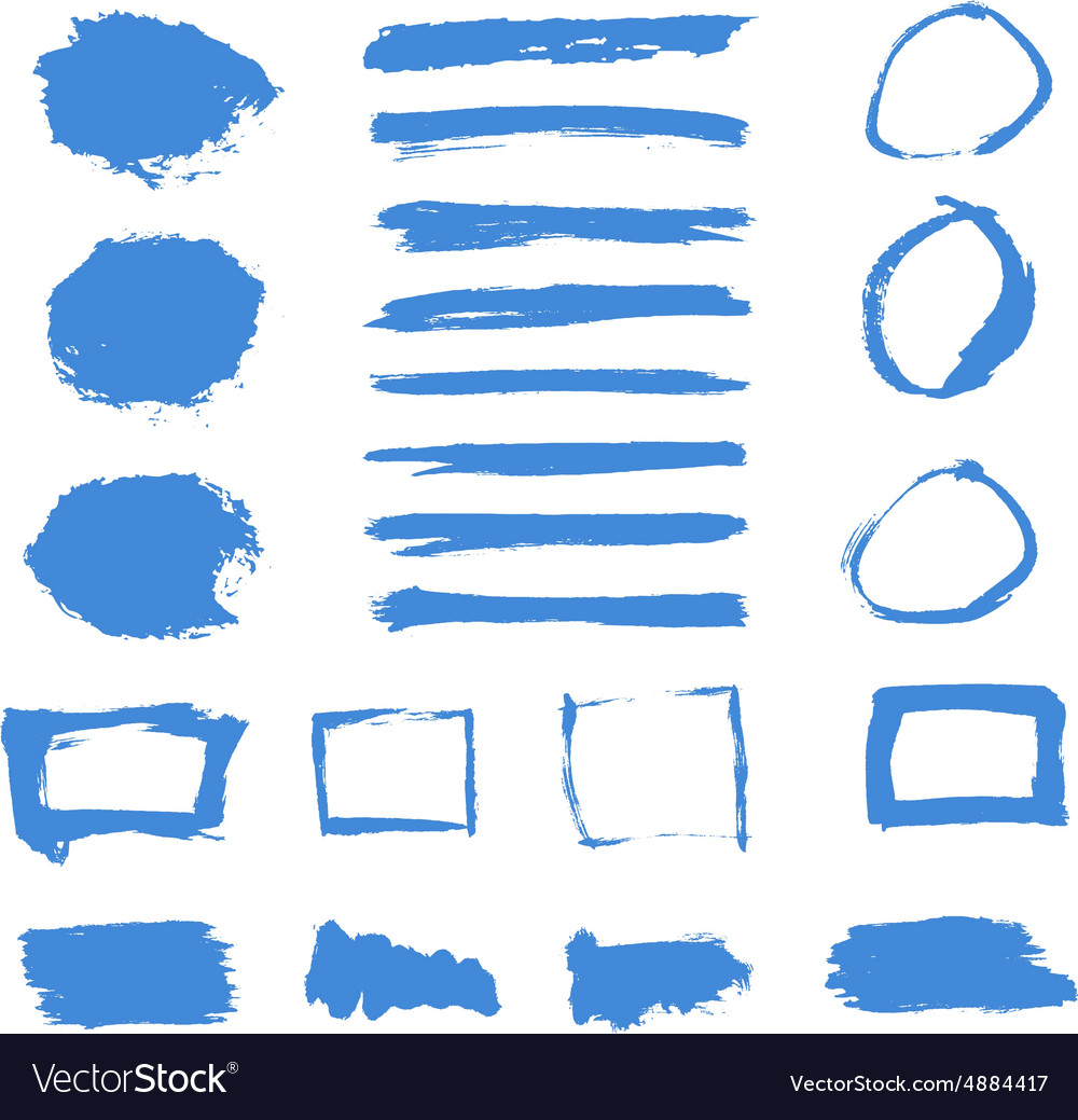 Grunge Paint Watercolor Ink Texture Elements Set vector image
