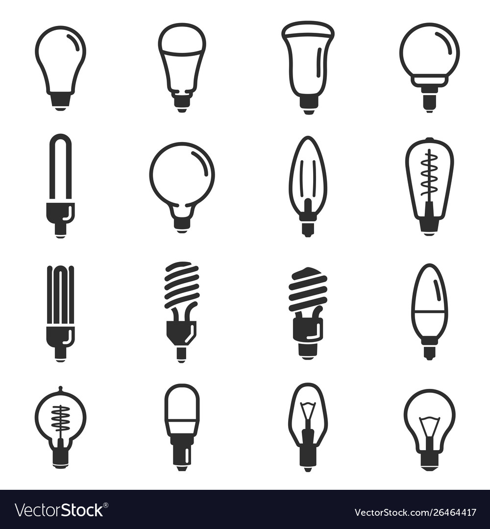 Light bulb and led lamp icon set