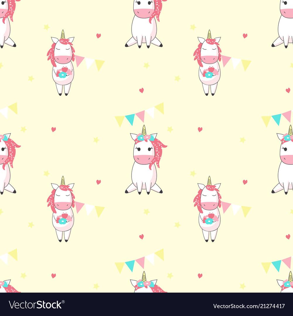 Magic unicorn seamless pattern