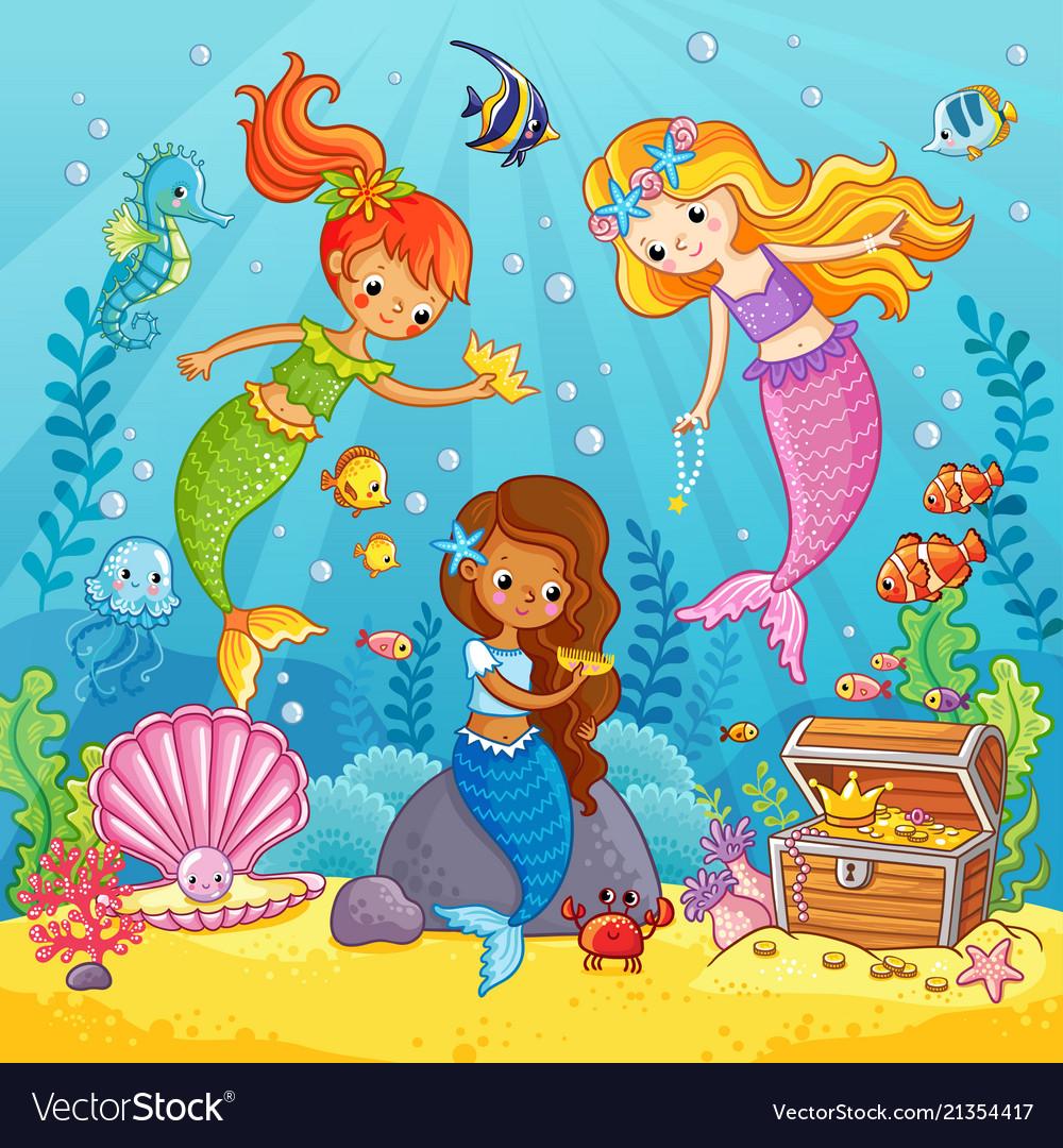 Mermaids play under water