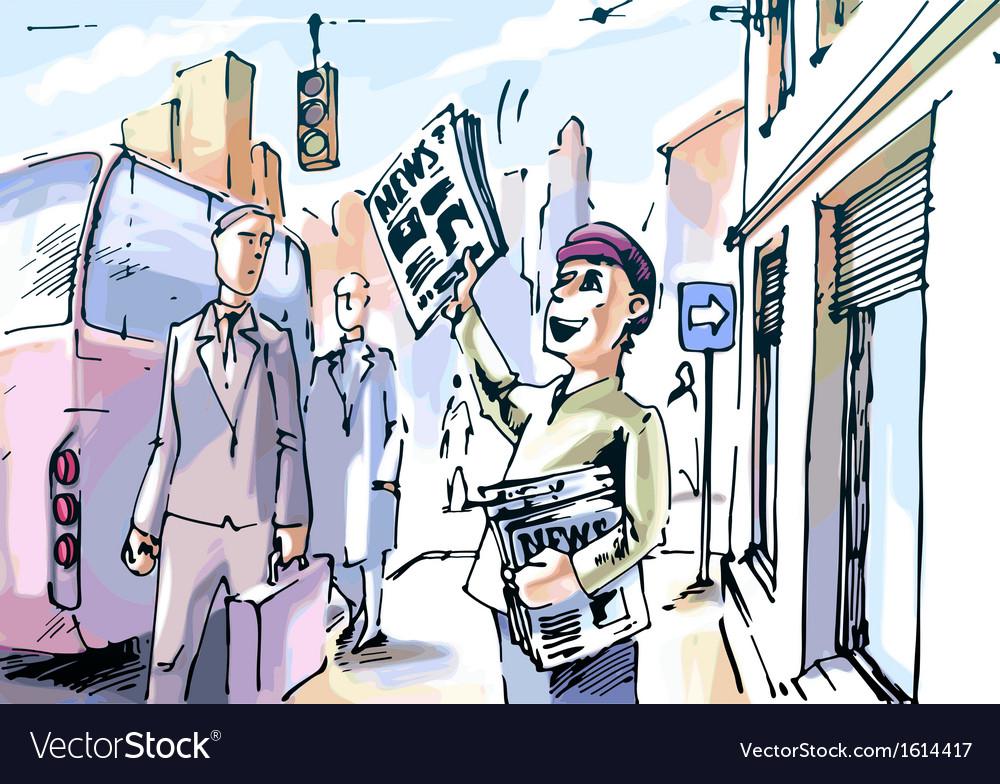 Newsboy vector image