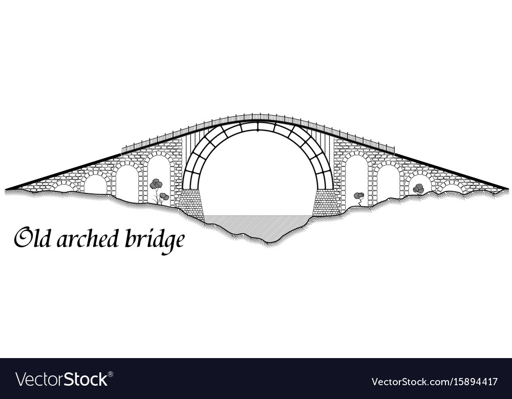 Old arched bridge made of stone and steel vector image