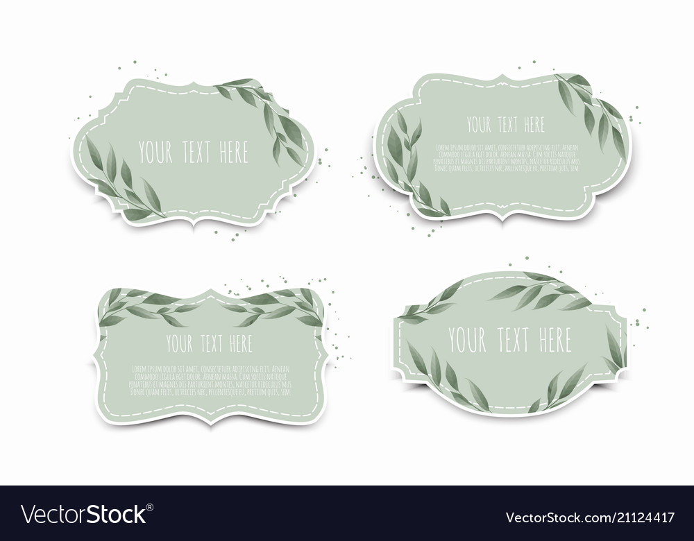 Set Vintage Labels With Leaves Frame Royalty Free Vector