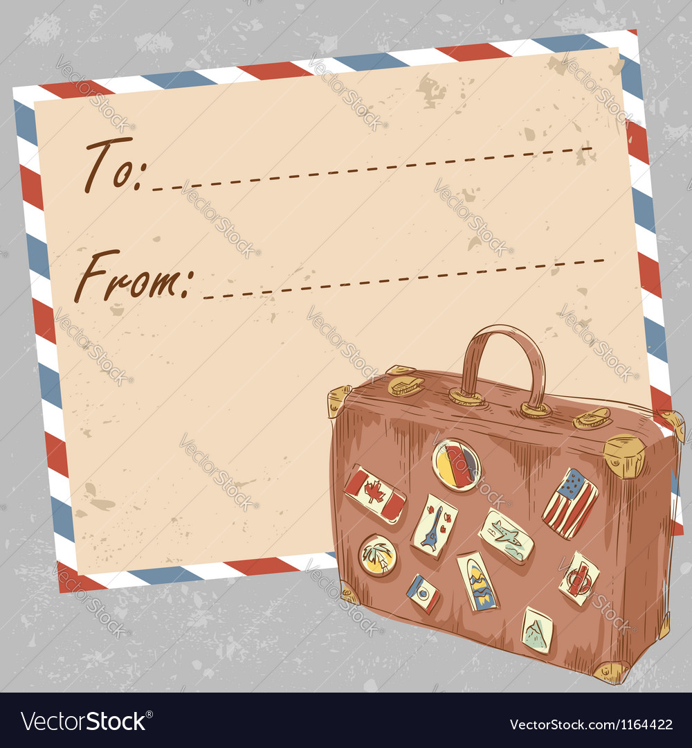 Air mail travel postcard with suitcase vector image