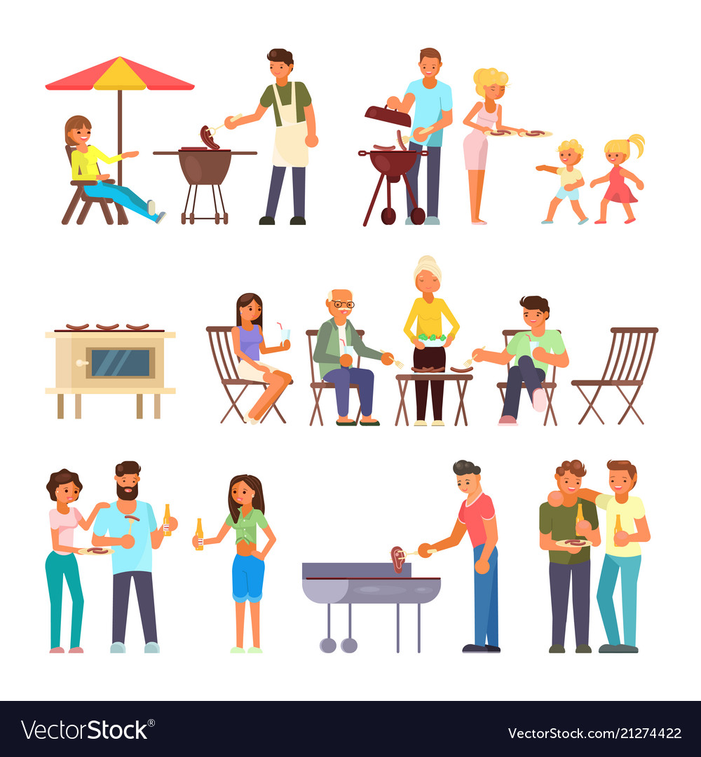 Barbecue people flat style design icon set