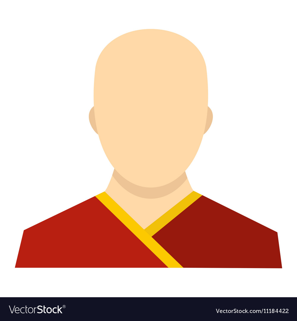 Buddhist monk icon flat style
