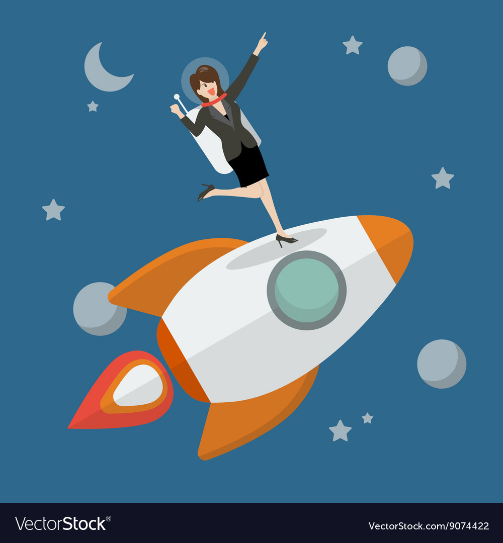 Business woman astronaut standing on a rocket