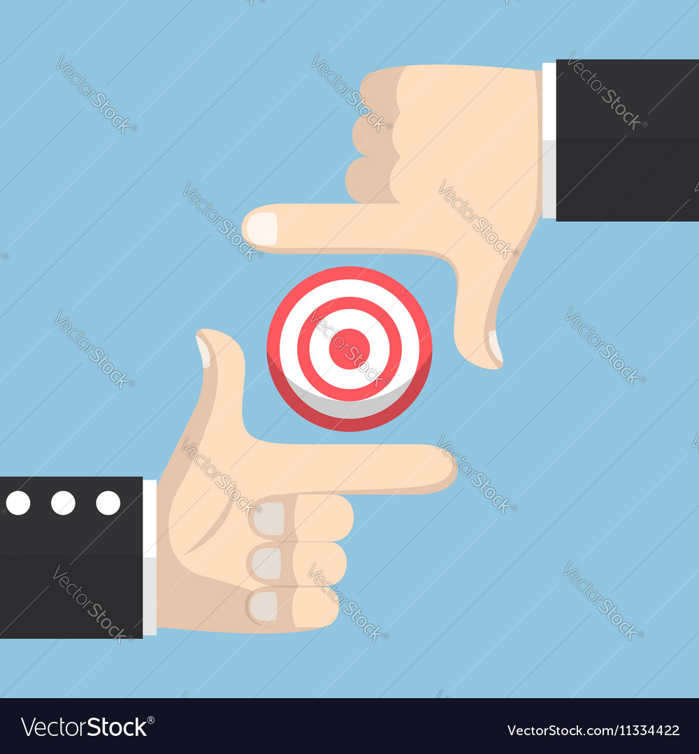Businessman hands forming a frame and target