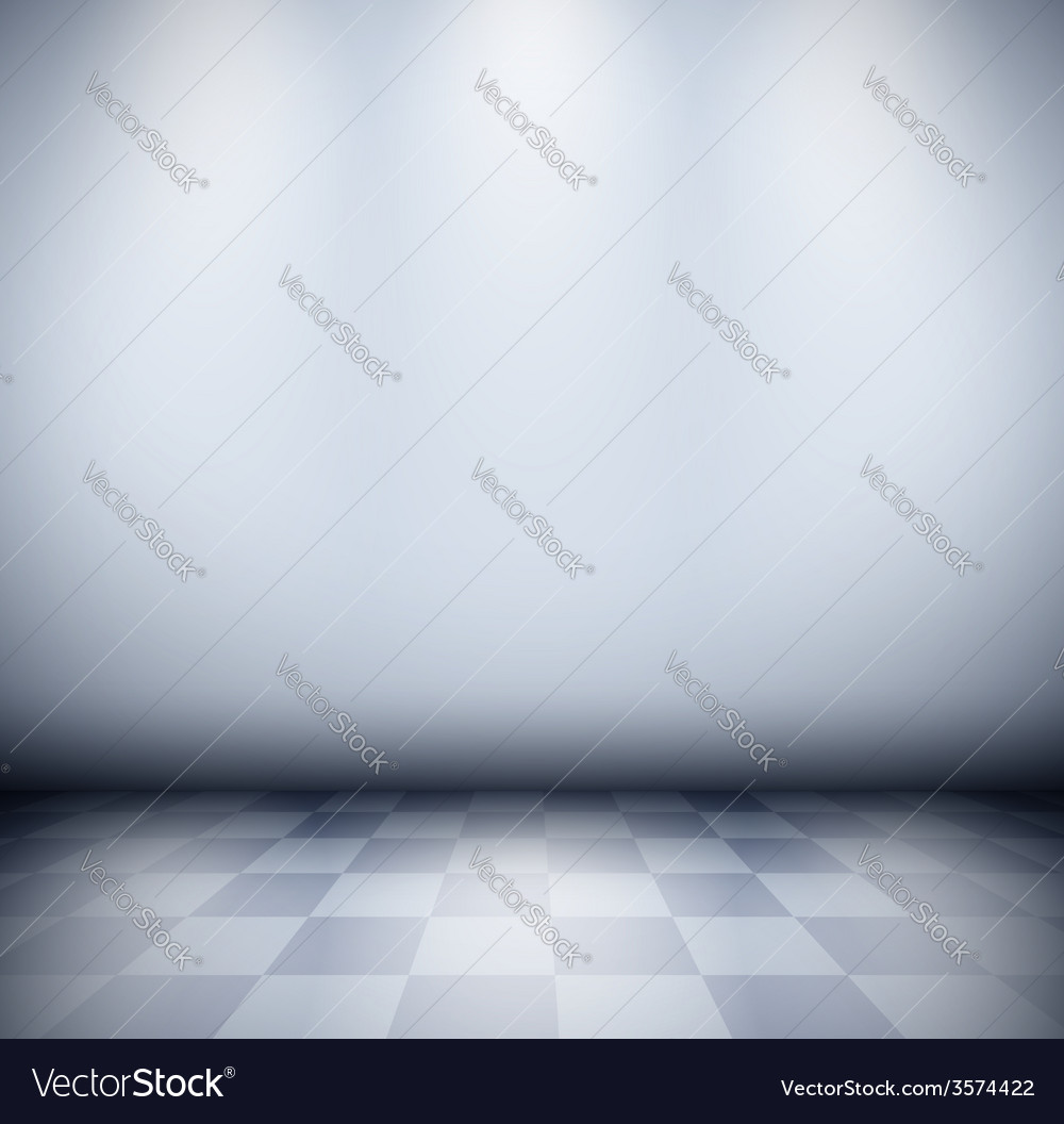 Dark misty room with checkered floor