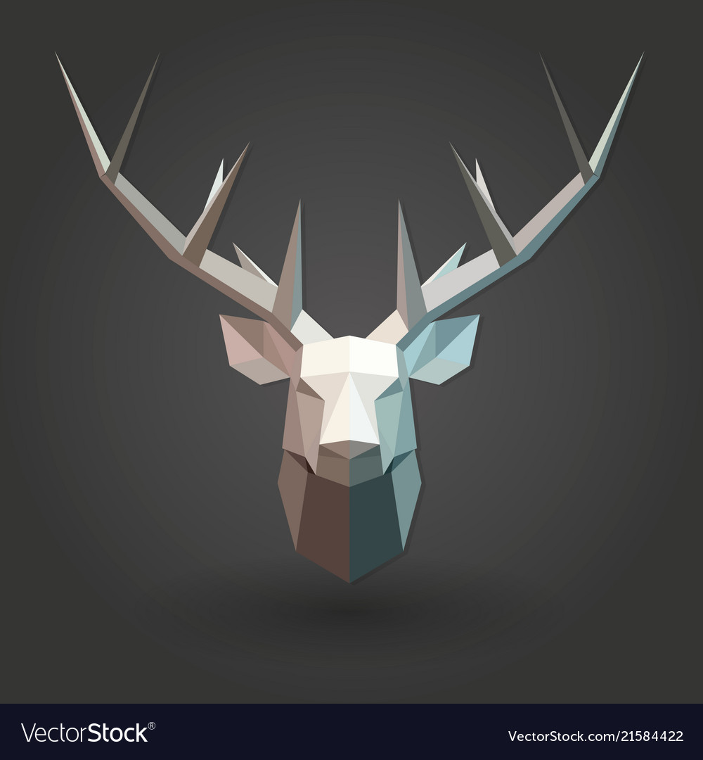 Deer low poly 3d animal shape silhouette white