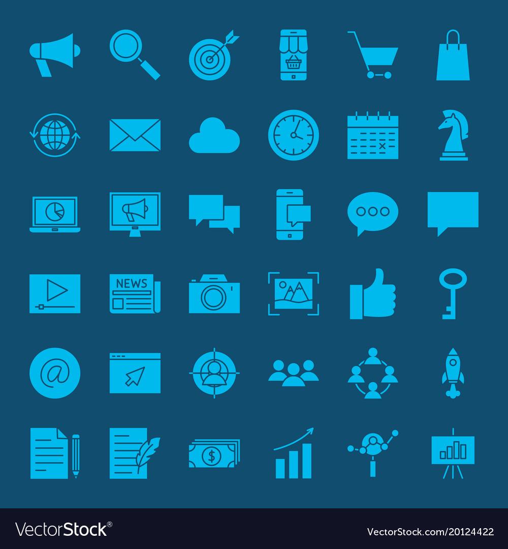 Digital marketing glyph web icons