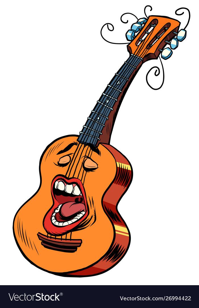 Emoji character emotion acoustic guitar musical