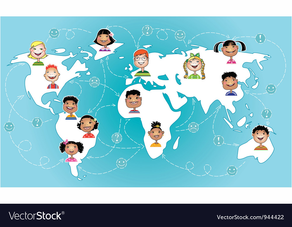 Kids connected worldwide vector image