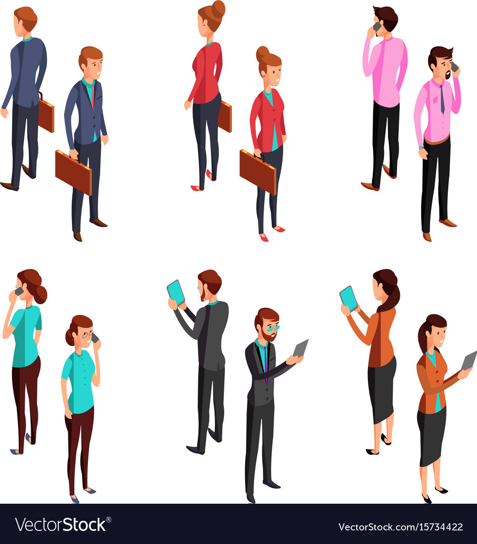 Man and woman businessman isometric 3d standing