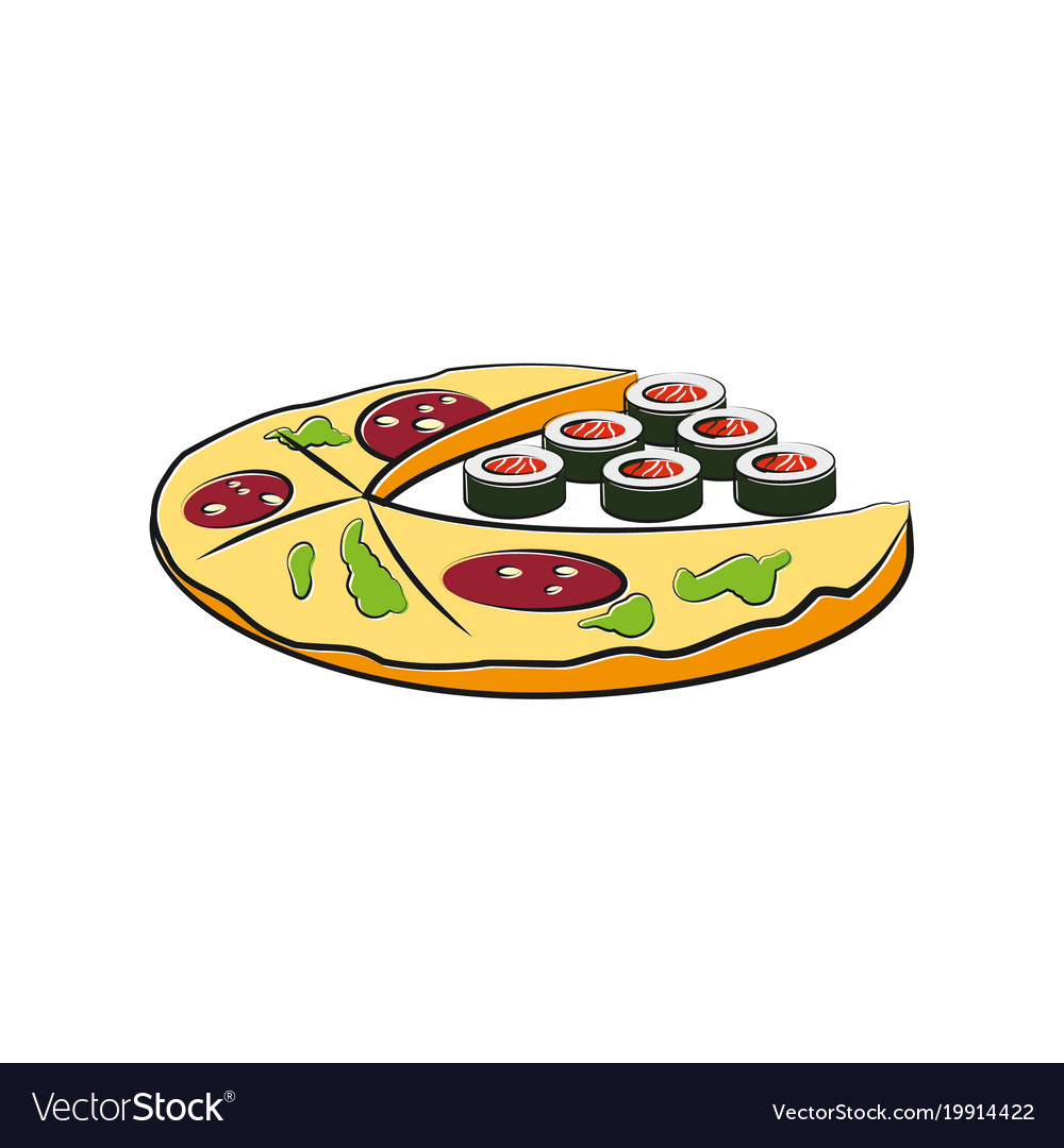 Pizza and sushi cartoon