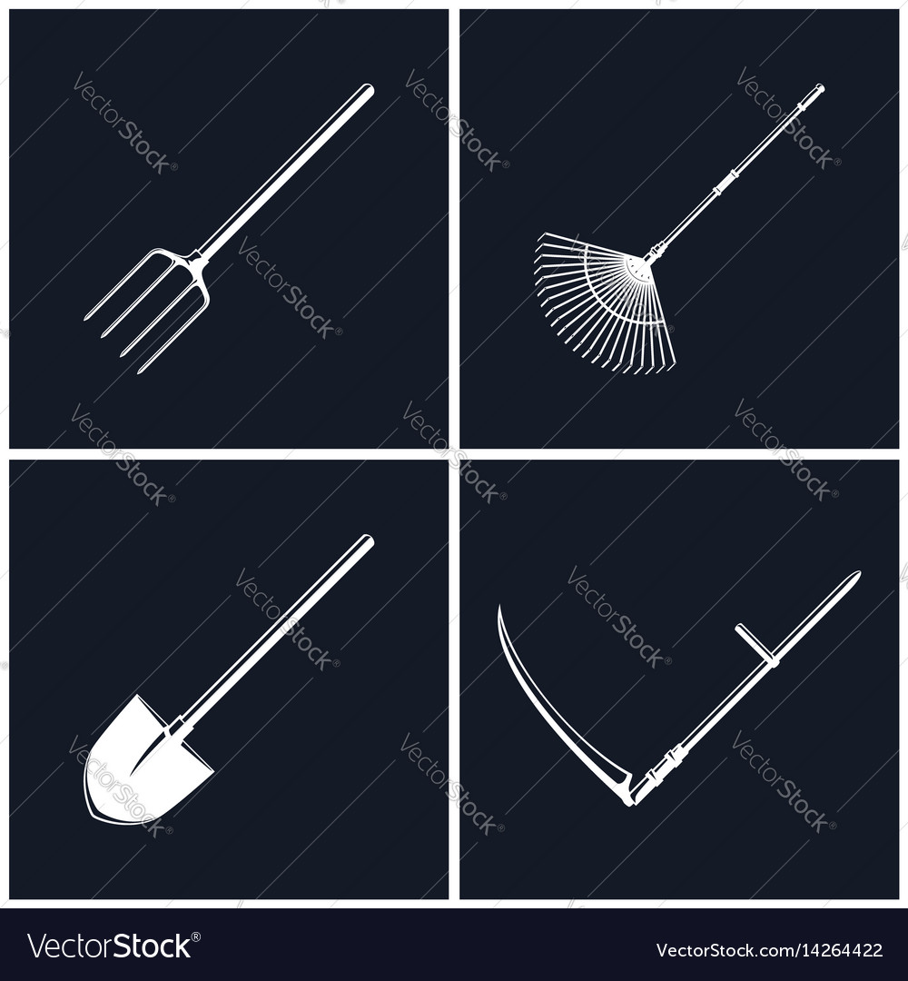 Set of agricultural tools on black background
