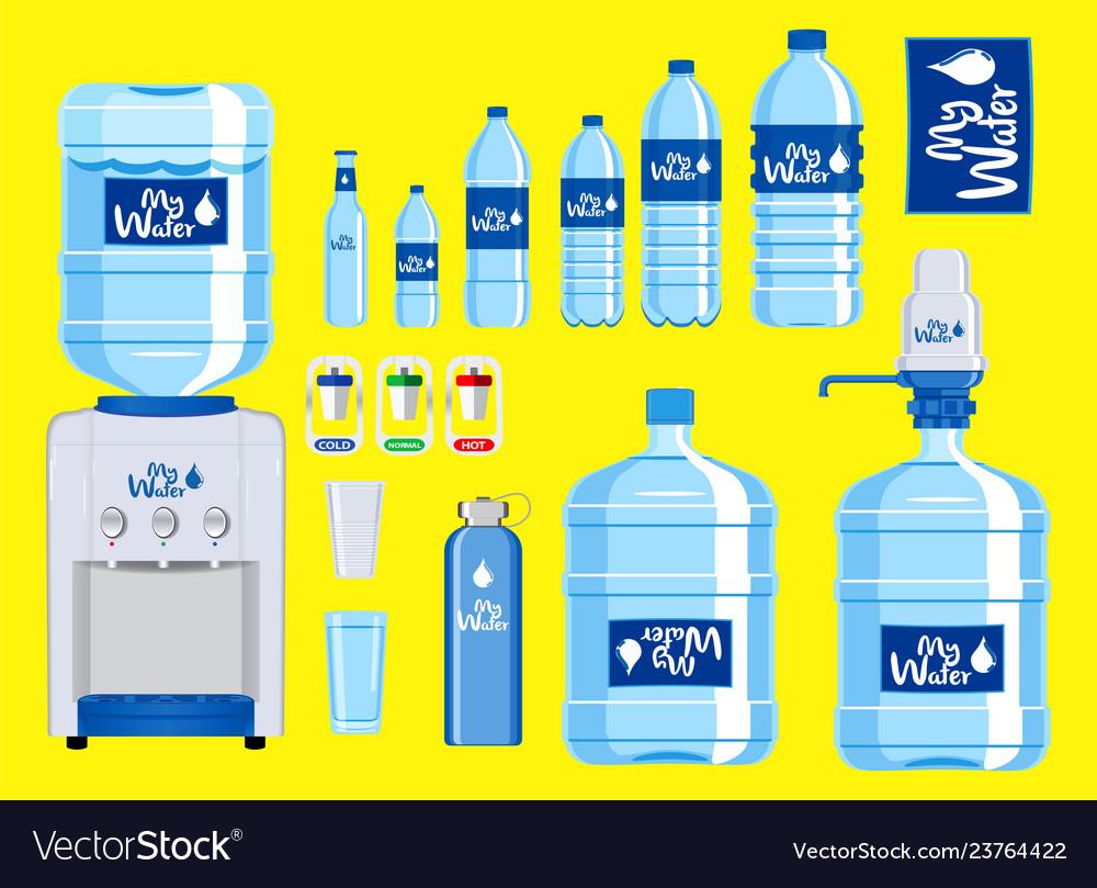 Set of plastic water bottle