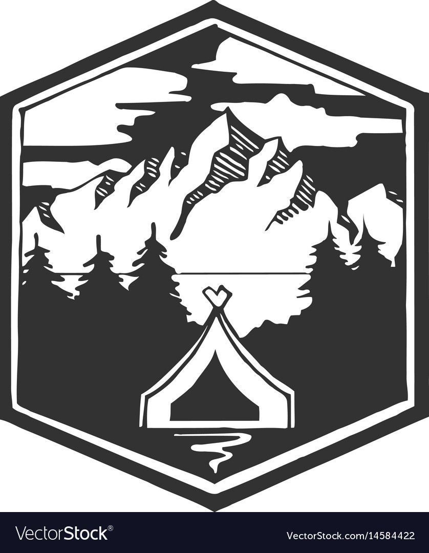 Stay wild camping forest camp hand drawn t vector image
