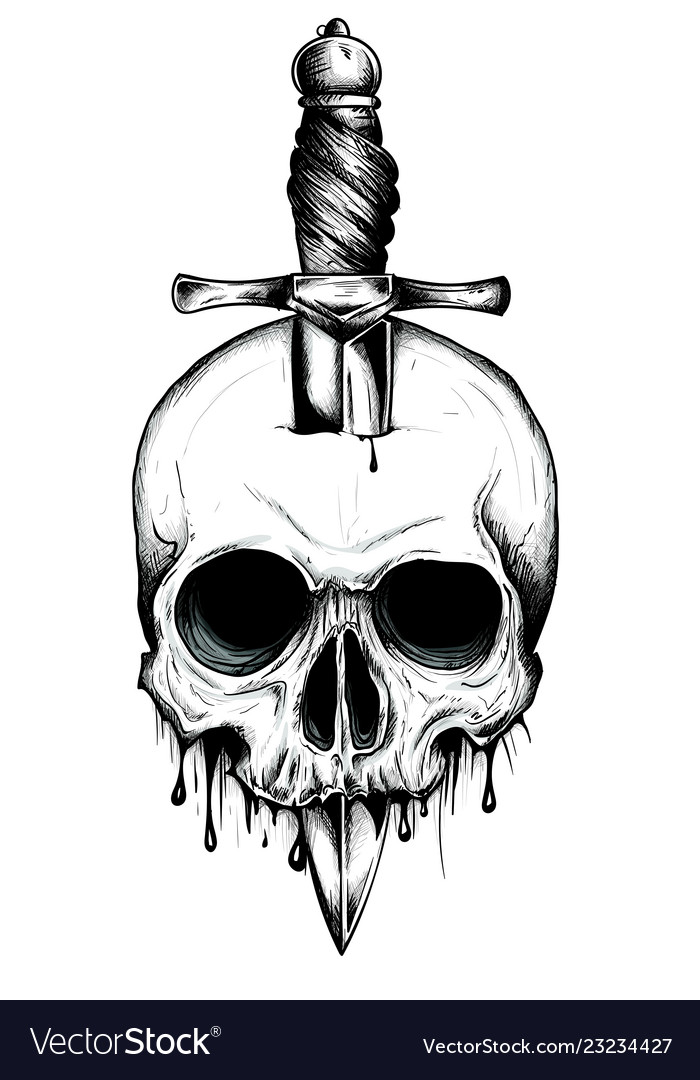 A Knife Through A Skull Simple Skull Face Series
