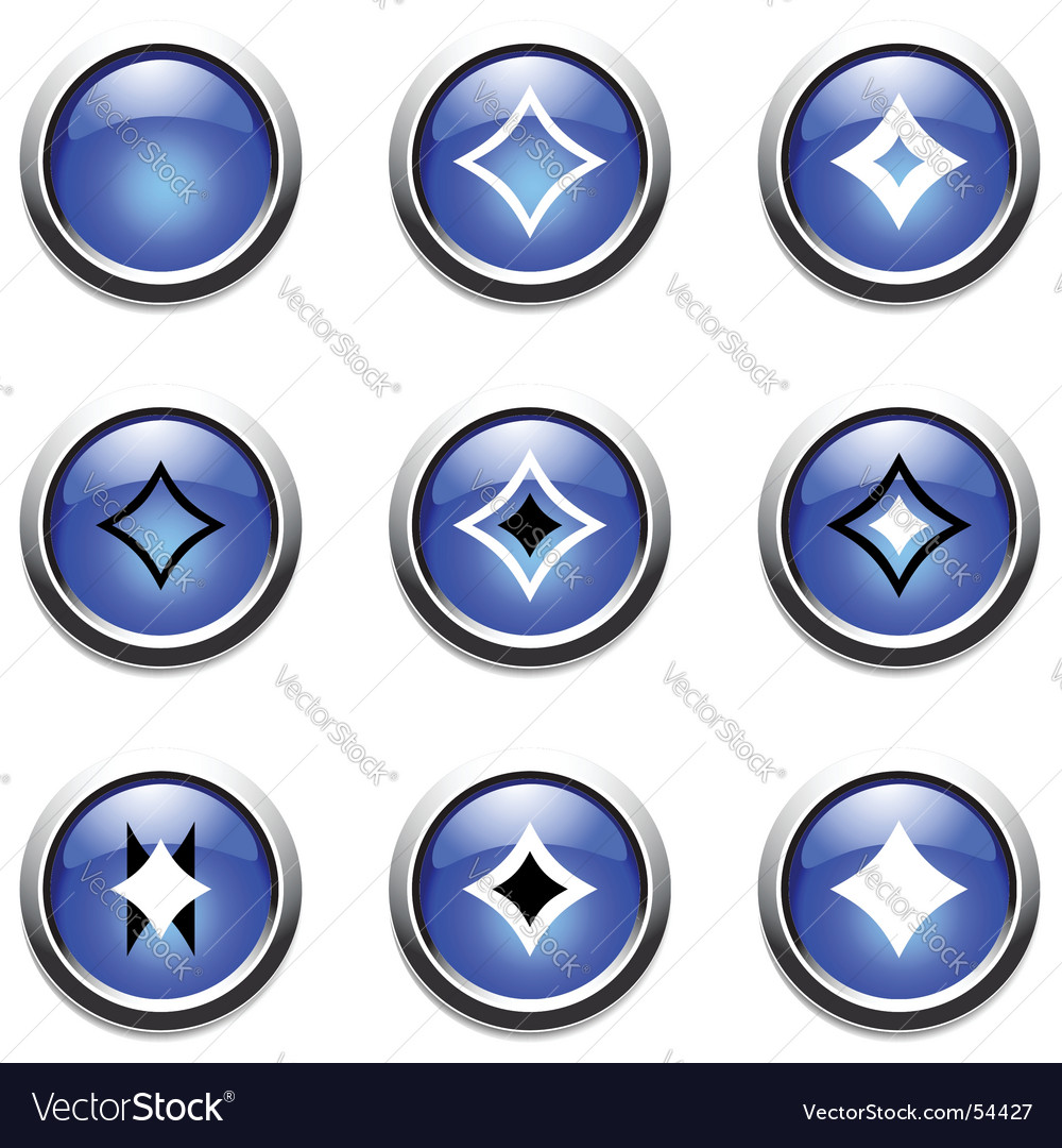 Blue buttons with decoration vector image