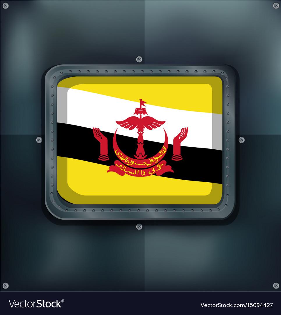 Flag of brunei on metalic frame