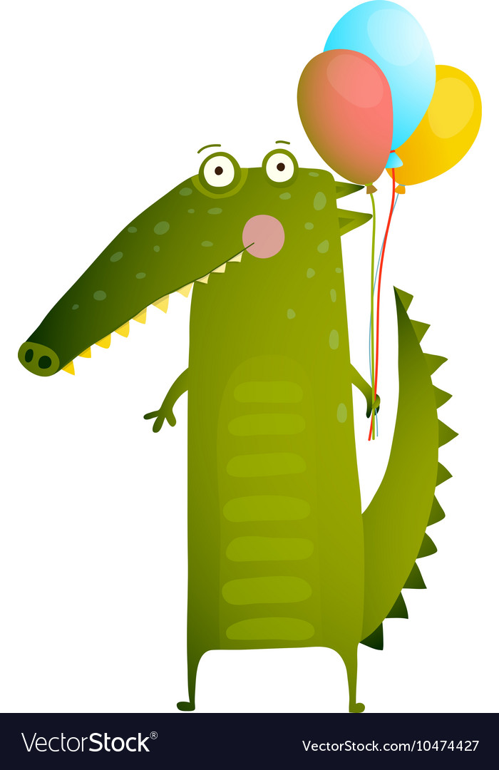 Kids Watercolor Style Crocodile with Balloons