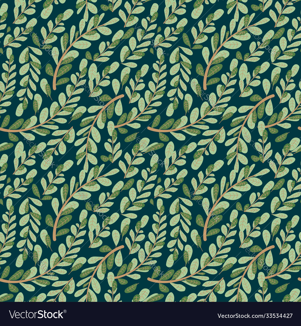 Leaf autumn seamless with flower pattern