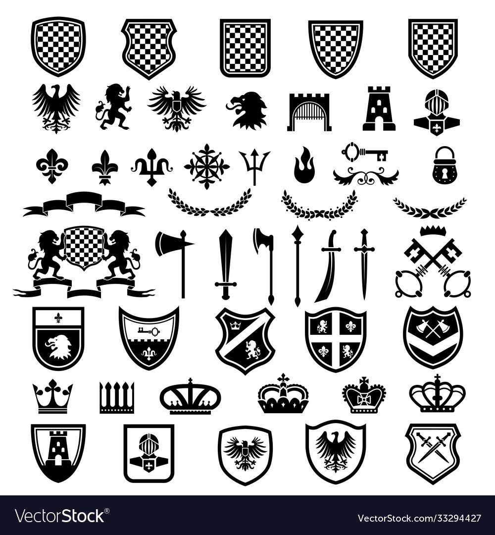 Medieval badges heraldic emblems collection