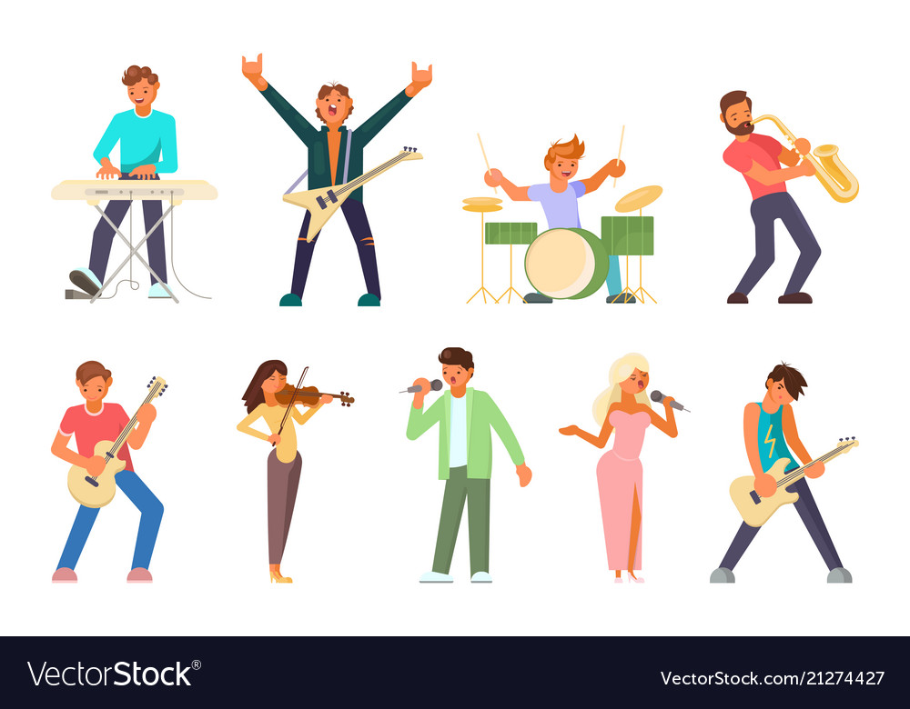 Musicians and singers flat icon set