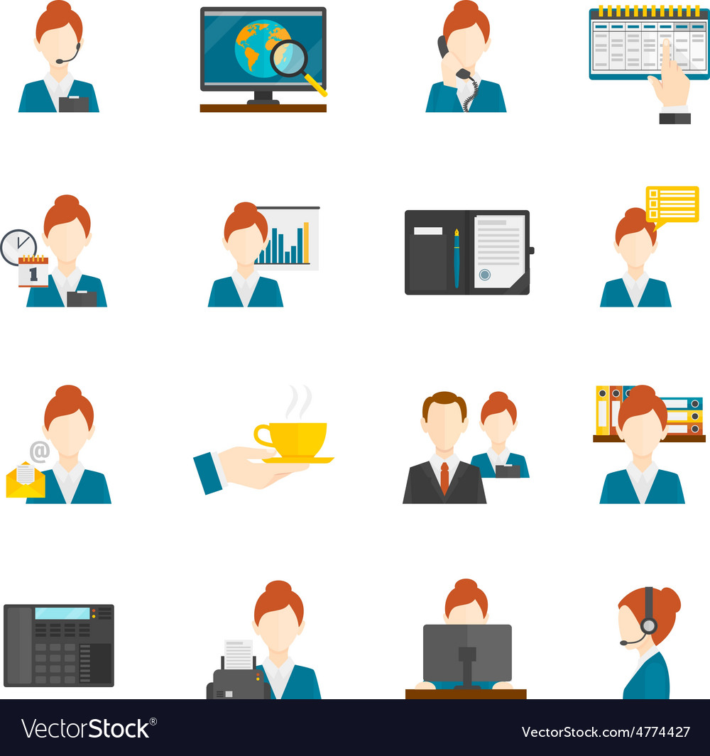 Personal Assistant Flat Icons