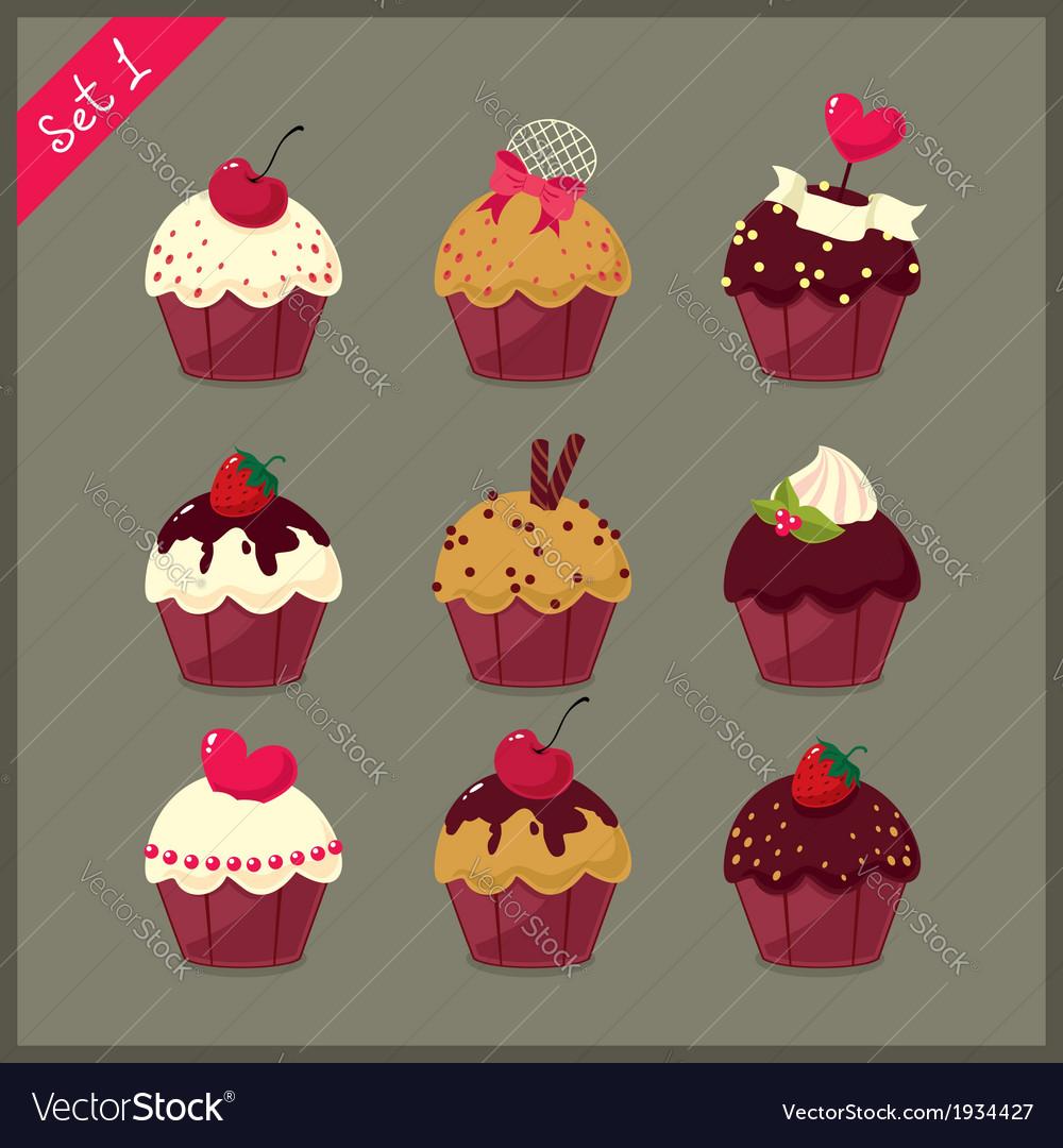 Set of cute cupcakes