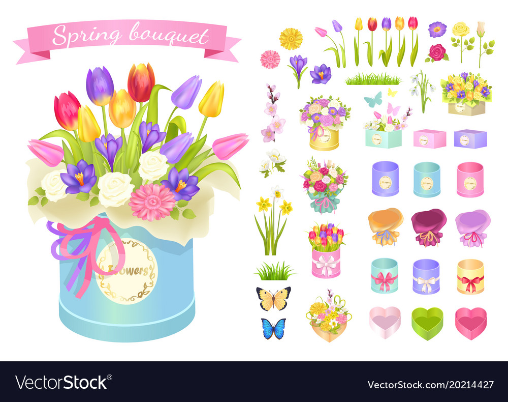 Spring bouquet poster set