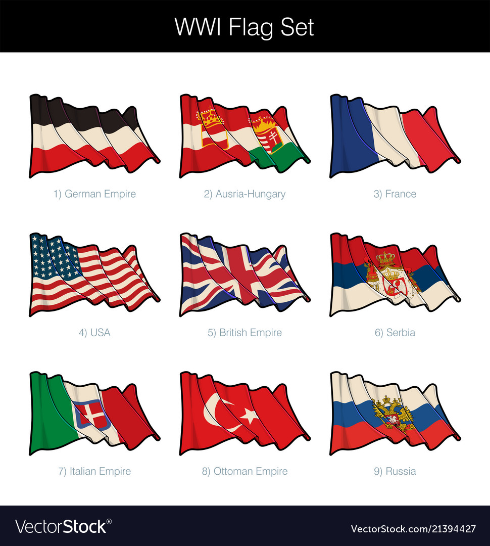 World war one waving flag set
