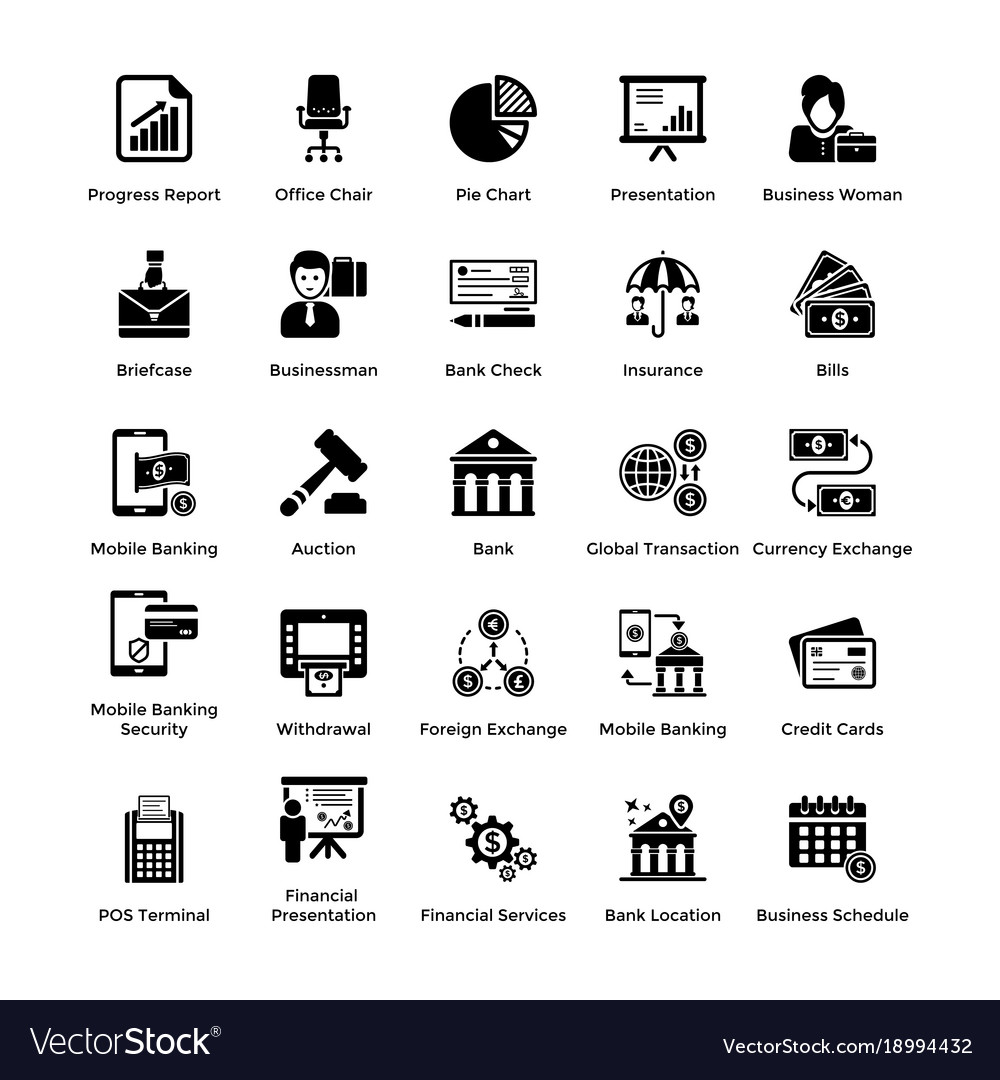 Business and finance glyph icons set 2 vector image