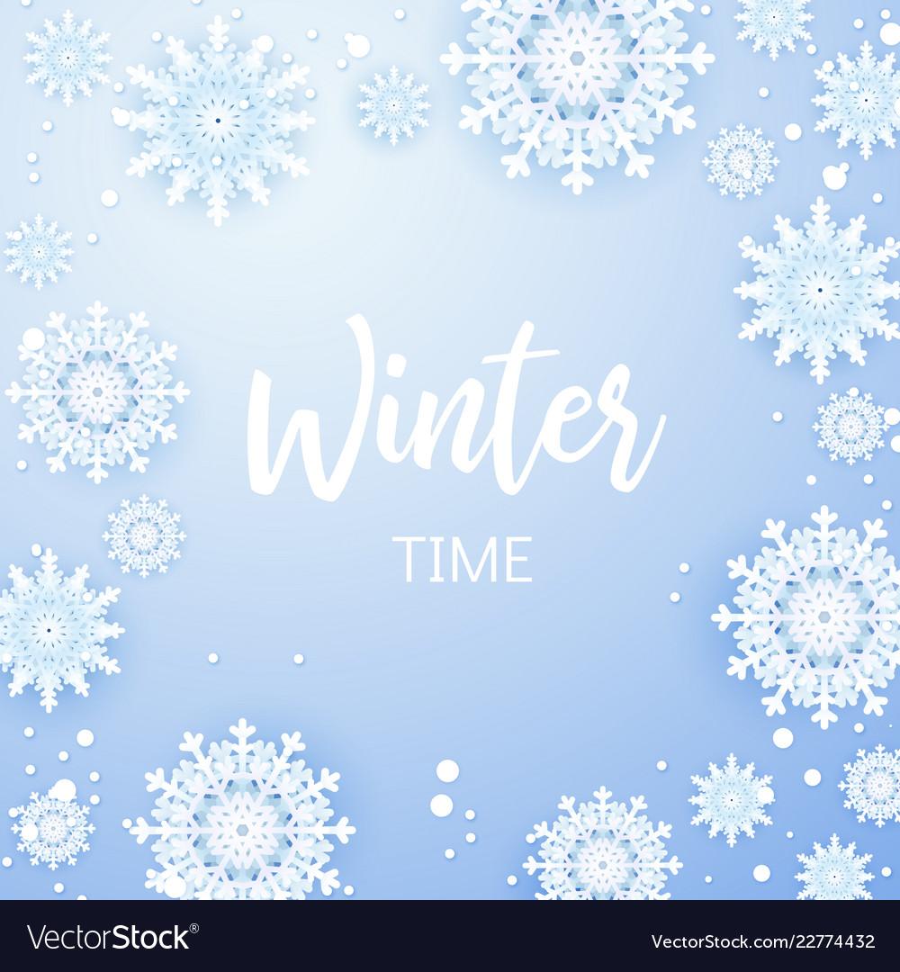 Christmas background white snowflakes on grey